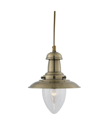 Searchlight Fisherman Single Pendant Light - Antique Brass - Glass Shade - Small
