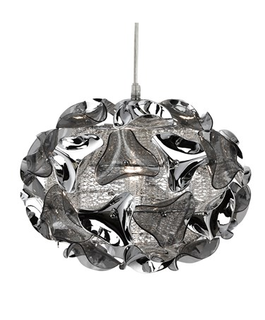 Searchlight Triangle Pendant Light - Chrome And Smokey Acrylic Pendant - Small