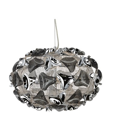 Searchlight Triangle Pendant Light - Chrome And Smokey Acrylic Pendant - Large