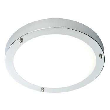 Endon Portico Flush Bathroom Ceiling Light - Frosted Glass & Chrome - IP44