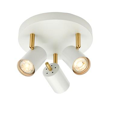 Endon Gull Triple LED Spotlight -Adjustable - White & Gold
