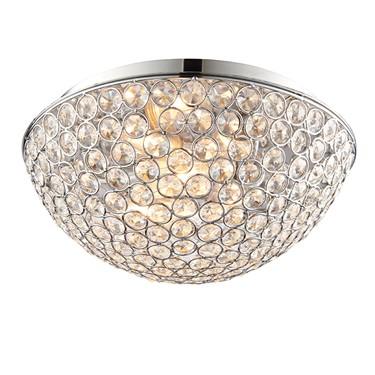 Endon Chryla Flush Ceiling Light - Crystal & Chrome Plate - IP44