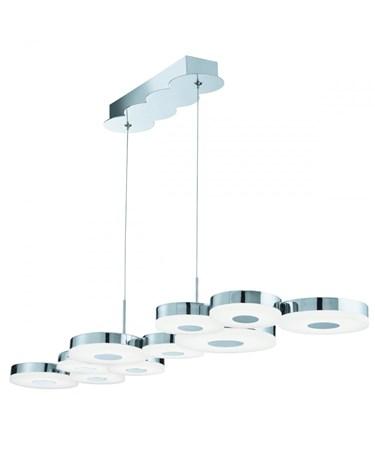Searchlight Chromia Led 10 Disc Ceiling Bar Light - Chrome - Frosted Acrylic