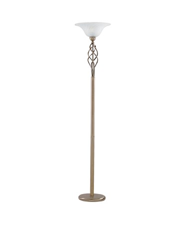Searchlight Uplighter Floor Lamp  - Antique Brass Complete With Marble Glass