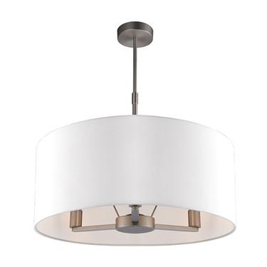 Endon Daley Pendant Ceiling Light - Nickel - Large Ivory Shade - 3 Light