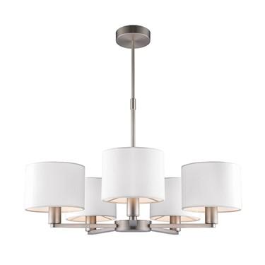 Endon Daley Pendant Ceiling Light - Nickel - 5 Ivory Shades - 5 Light