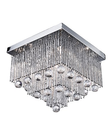 Searchlight Beatrix - Flush Ceiling Light - Square - Chrome - Crystal Drops