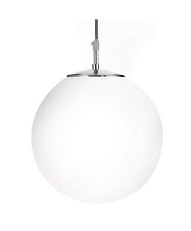 Searchlight Atom Ceiling Light - Silver Pendant - Opal Glass Sphere - Small