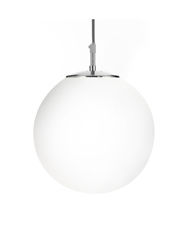 Searchlight Atom 12  Shiny Opal Ball/Satin Silver Suspension - Large