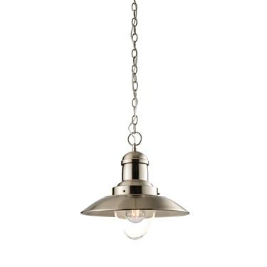 Endon Mendip Fisherman Style Pendant Light Fitting - Satin Nickel