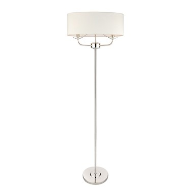 Endon Nixon Floor Lamp - Nickel Plate - White Silk Shade