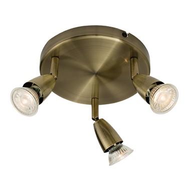 Endon Amalfi Triple Spotlight - Adjustable - Antique Brass