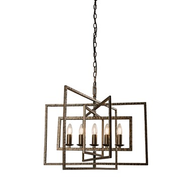 Endon Tibbet Pendant Light Fitting - Candle Light - Hammered Bronze - 5 Light