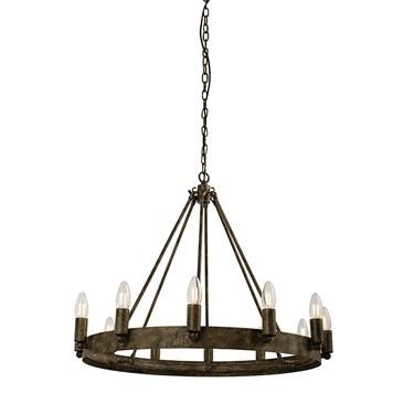 Endon Chevalier Metal Ring Pendant Light Fitting - 12 Light