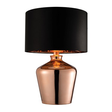 Endon Waldorf Table Lamp - High Shine Copper - Black Shade