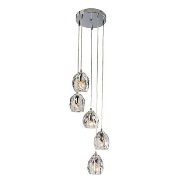Endon Poitier Pendant Ceiling Light - Chrome Plate & Glass - 5 Light