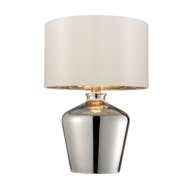 Endon Waldorf Table Lamp - High Shine Chrome - Ivory Shade