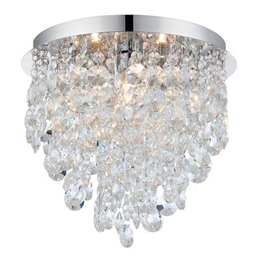 Endon Kristen Crystal Droplet Ceiling Light - Clear Crystal & Chrome - IP44