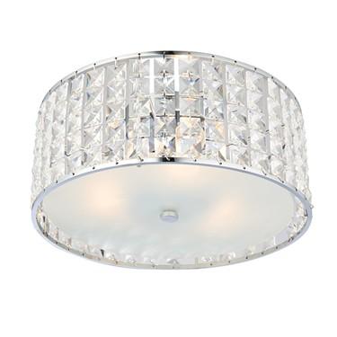 Endon Belfont Flush Bathroom Ceiling Light - Clear Crystal - IP44