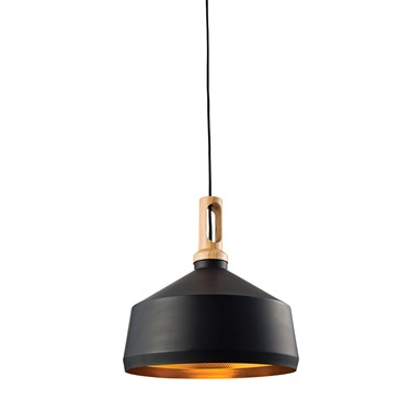 Endon Garcia Modern Pendant Light - Matt Black, Gold & Wood