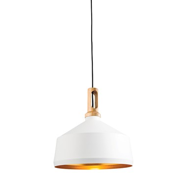 Endon Garcia Modern Pendant Light - White, Gold & Wood