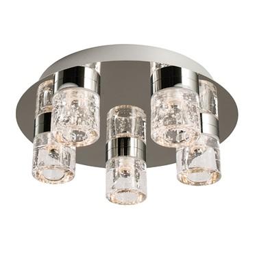 Endon Imperial Flush LED Ceiling Light - Chrome & Crystal - 5 Light