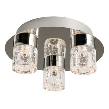 Endon Imperial Flush LED Ceiling Light - Chrome & Crystal - 3 Light