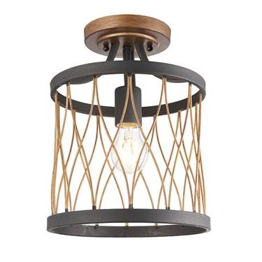 Endon Heston Rustic Semi Flush Ceiling Light - Black & Bronze