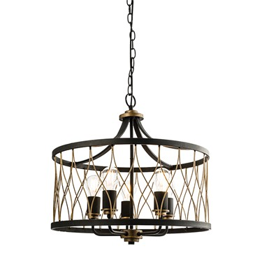 Endon Heston Rustic Pendant Light - Black & Bronze