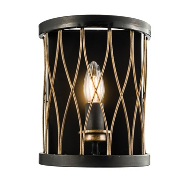 Endon Heston Rustic Wall Light - Black & Bronze
