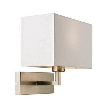 Endon Piccolo Wall Light - Satin Nickel - White Shade
