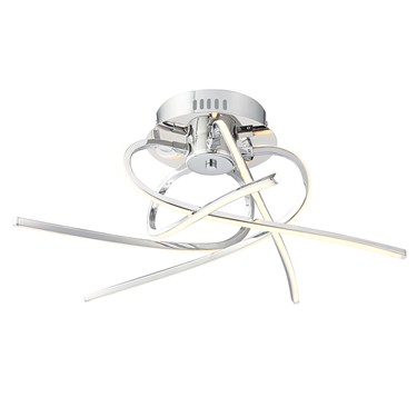 Endon Hemingway LED Twisted Chrome Semi Flush Ceiling Light - 5 Light