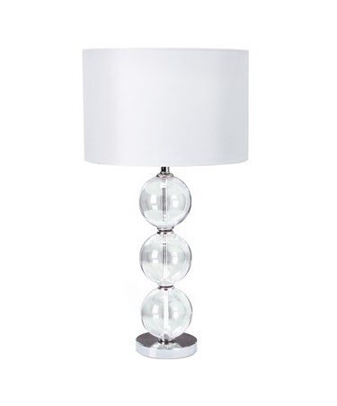Searchlight Table Lamp - 3 Clear Glass Ball Stacked Base - White Drum Shade