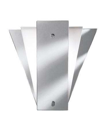 Searchlight Art Deco Mirror Wall Light - Fan Shade - Mirrored & Frosted Glass