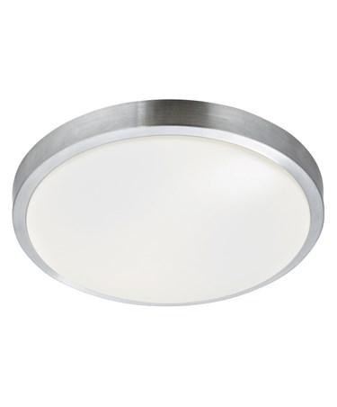 Searchlight Flush Bathroom Light - Aluminium Trim - Acrylic White Shade