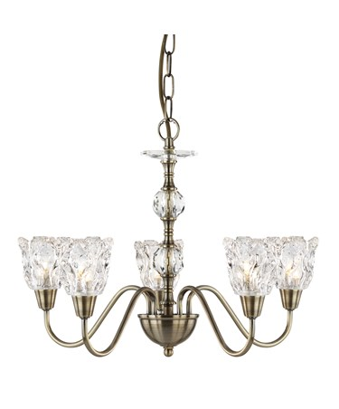 Searchlight Monarch Ceiling 5 Light - Antique Brass - Decorative Glass Shades