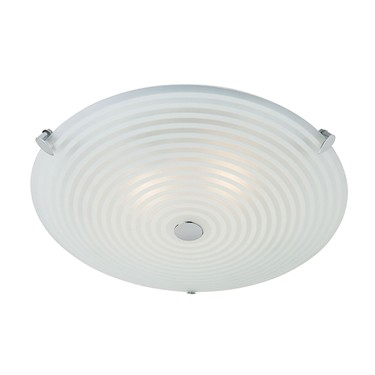 Endon Roundel LED Flush Ceiling Light - Frosted & Clear Glass