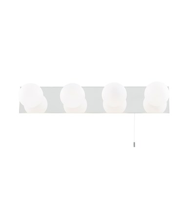 Searchlight Bathroom 4 Wall Light - Chrome Mirror - White Glass Globes - Small