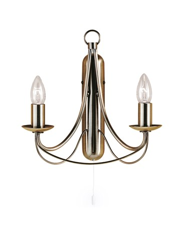 Searchlight Maypole Double Wall Light - Antique Brass