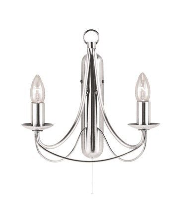 Searchlight Maypole Double Wall Light - Satin Silver