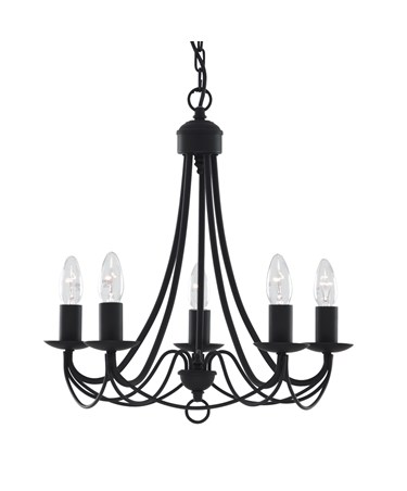 Searchlight Maypole  5  Light Ceiling Fitting - Matt Black