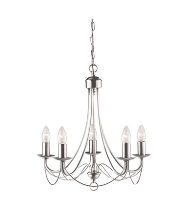 Searchlight Maypole  5  Light Ceiling Fitting - Satin Silver