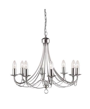 Searchlight Maypole  8  Light Ceiling Fitting - Satin Silver