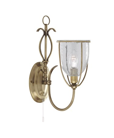Searchlight Silhouette Single Wall Light - Antique Brass - Glass - Pull Cord