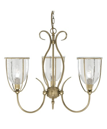 Searchlight Silhouette 3 Light Fitting - Antique Brass - Glass - Pull Cord