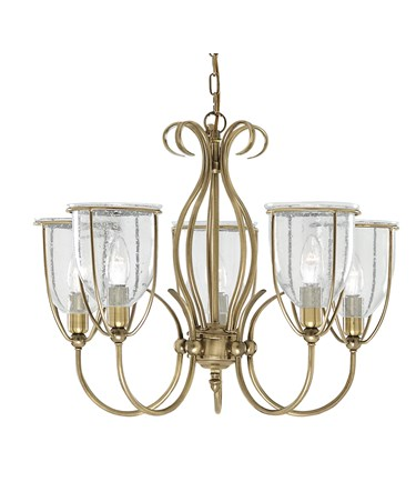 Searchlight Silhouette 5 Light Fitting - Antique Brass - Glass - Pull Cord