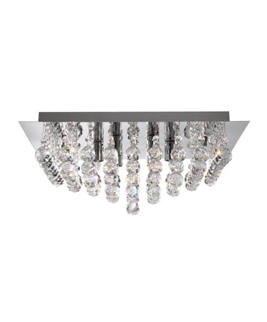 Searchlight Hanna 8  Light Square Semi-Flush Fitting - Chrome - Crystal Balls