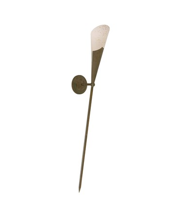 Searchlight Brown Ruggine Wall Light - Long Tail Torch - Cream Scavo Glass Shade