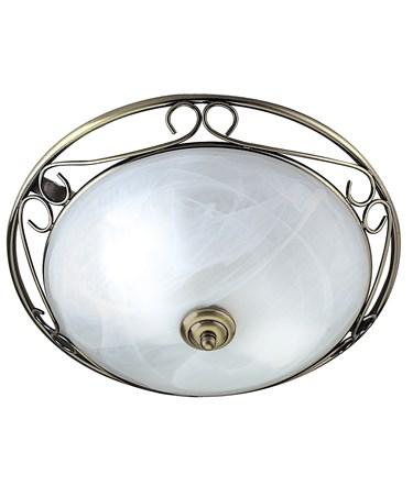Searchlight Ornate Flush Ceiling Light - Antique Brass - Marble Glass - 37Cm