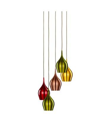 Searchlight Vibrant 5 Light Multi-Drop Multi-Coloured Bell Shaped Pendant Light